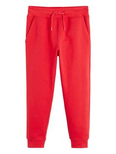 Mango Boys Cuffed Jersey Joggers - Red Red Joggers, Boys Joggers, Red Pants, Sweatpants, Baby Wearing, 6 Years, Boy Outfits, Mango, Legs