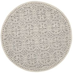 Safavieh Handmade Cambridge Silver/ Ivory Wool Rug (9' Round) - 18650934 - Overstock - Great Deals on Safavieh Round/Oval/Square - Mobile