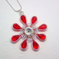Red Star Flower Pendant Necklace Wire Wrapped by AnnaWireJewelry, $44.99