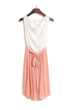 Pink Singlet Chiffon Dress With Pleat Skirt