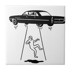 car abduction of aliens ceramic tile - fun gifts funny diy customize personal