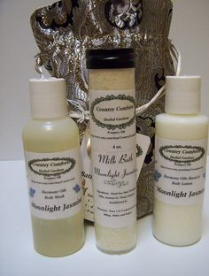 Bath & Body Gift Bag - Choose from 4 fragrances - 1 - 4 oz each of Body Wash, Milk Bath, Hand Lotion, Free Lip Balm