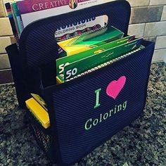 Andrea uses her Double Duty Caddy to organize all her coloring supplies - markers, coloring books and more!