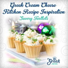 Need an elegant and easy appetizer idea for your New Years Eve party?  Combine softened Greek Cream Cheese with your favorite herbs and spices, fill pre-made mini-pastry shells, and serve. Enjoy!