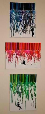 """Melted crayons art. This was easy and fun. I bought 3 small canvas' from Walmart for $4.00 and 4 boxes of crayons for $2. Glued on the crayons, put some scotch tape down for the """"letters"""" I wanted and used the blow dryer to melt the crayons!"""