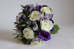 Purple lisi bridal bouquet - preferred, with thistle and edible herbs