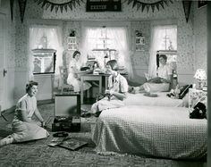 Teenager's room, 1940s.  Nice detail of then-current everyday objects.