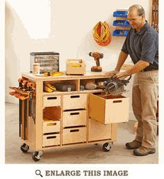 Mobile Shop Cabinet, Work Station Woodworking Plan, Shop Project Plan