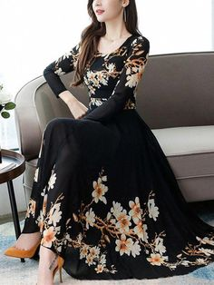 Elegant Dresses Classy, Stylish Dresses For Girls, Elegant Dresses For Women, Classy Dress, Classy Outfits, Chiffon Maxi Dress, Floral Maxi Dress, Prom Dresses With Sleeves, Nice Dresses