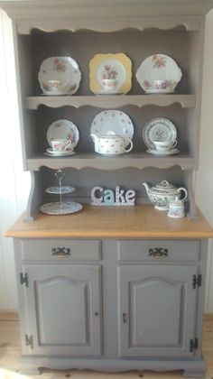 Welsh dresser painted with Annie Sloan 'French linen' with a small selection of my vintage china
