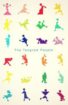 The Tangram people are coming . Tangram Puzzles, Stem Projects, Different Shapes, Adventure, People, Art, Kunst, Fairy Tales, People Illustration
