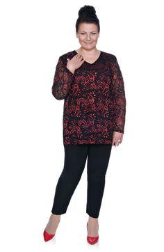 Czarno-czerwona bluzka z koronki - Modne Duże Rozmiary