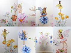 Fairy Wall Stickers Flower Decals SET OF 8 Watercolor Decor Girls Bedroom Gifts Fairies
