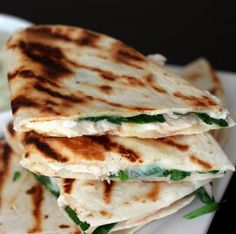 Chicken, Spinach, Goat Cheese Quesadillas with Avocado Sour Cream