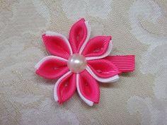 Diy kanzashi flower, kanzashi hair clip tutorial, ribbon flowers,kanzashi flores de cinta - YouTube