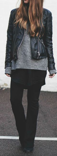 Michelle Nielsen wears a cute leather jacket over knitwear combination, pulling the look together with skinny cigarette trousers and plain black brogues. We recommend this look for everyday style.   Brands Not Specified. Cute Fall Outfits.