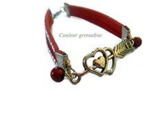 Bracelet cuir rouge amour et perles st Valentin : Bracelet par couleur-grenadine33