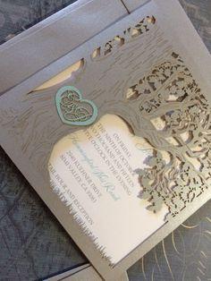 Wedding. Custom Tree Laser Cut Wedding Invitation Template Love Story Tree Wedding Invitation.
