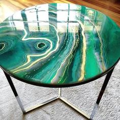 Original resin geode table   Etsy Green Coffee Tables, Painted Coffee Tables, Side Coffee Table, Diy Resin Table, Palm Tree Drawing, Resin Countertops, Live Edge Table, Marble Wall, Resin Art