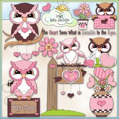 Valentine Hoots 1 - NE Trina Clark Clip Art : Digi Web Studio, Clip Art, Printable Crafts & Digital Scrapbooking!