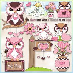 Valentine Hoots 1 - NE Trina Clark Clip Art : Digi Web Studio, Clip Art, Printable Crafts & Digital Scrapbooking!