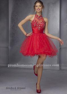 Mori Lee 9289 Red Embellished Homecoming Dresses