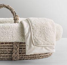 Luxe Sherpa Moses Basket Bedding & Ash Basket