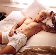 Calvin Klein: Justin Bieber, 21, appeared to be sleeping in an Instagram post while wearing white underwear - January 2016