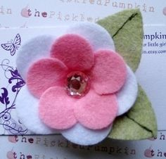 Pink Felt Flower Hairclip-felt flower hairclip alligator easter pink