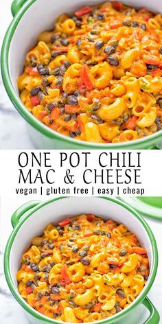 This Vegetarian Chili Mac Cheese is super creamy vegan gluten free and a one pot casserole ready&; This Vegetarian Chili Mac Cheese is super creamy vegan gluten free and a one pot casserole ready&; Tasty Vegetarian Recipes, Vegetarian Chili, Vegan Dinner Recipes, Vegan Dinners, Whole Food Recipes, Cooking Recipes, Vegetarian Casserole, Recipe Tasty, Vegan Chili