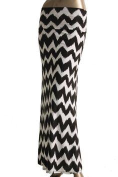 The Texas Cowgirl - Black White Chevron Maxi Skirt, $29.99 (http://www.thetexascowgirl.com/black-white-chevron-maxi-skirt/)