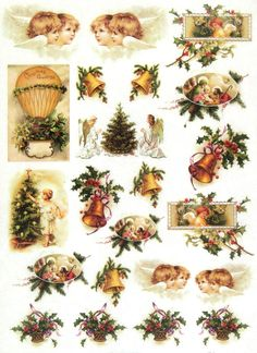 Ricepaper/Decoupage paper, Scrapbooking Sheets /Craft Paper Vintage Holly Night