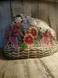 Flower basket painted rock