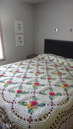 Vintage Chenille Bedspread Chartreuse Green With by ChenilleAmour, $189.00