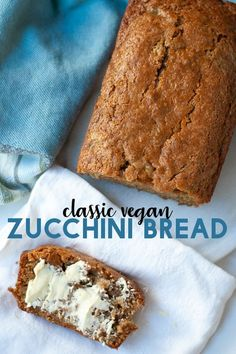 vegan bread This vegan zucchini bread is soft and sweet with a perfectly crisp outer crust. Its super easy to make and uses classic zucchini bread ingredients- no banana or applesauce here! Vegan Foods, Vegan Snacks, Vegan Dishes, Vegan Dessert Recipes, Vegan Sweets, Baking Recipes, Vegan Bread, Vegan Zuchinni Recipes, Dairy Free Zucchini Bread
