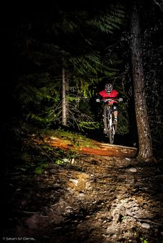 Night Riding - and this is a self portrait by the subject - must have taken him some effort to set up! #mtb #bicycle