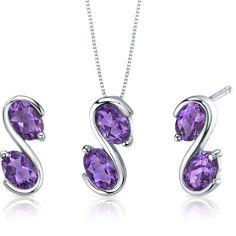 Graceful Elegance 3.00 ct Oval Cut Sterling Silver Amethyst Pendant Earrings Set