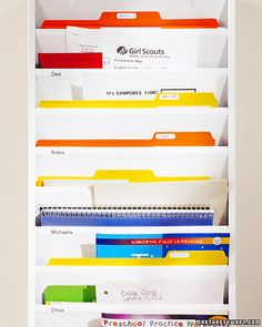 Great idea to keep organized! Good for bills to pay, bills to be paid, magazines, mail....love it! Want it!