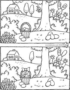 at Easter the Easter bunny brings Easter eggs. spot the 7 differences between the two pictures. then colour in the picture in fresh spring colours. don't forget to eat an Easter egg. Zoo Crafts, Farm Animal Crafts, Animal Crafts For Kids, Preschool Crafts, Easter Crafts, Farm Animals, Fun Worksheets For Kids, Animal Worksheets, Easter Activities