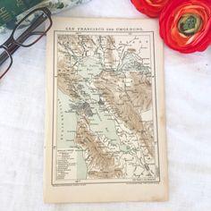 Antique 1895 San Francisco City California Bay Area America Map Print Color Old Word Book