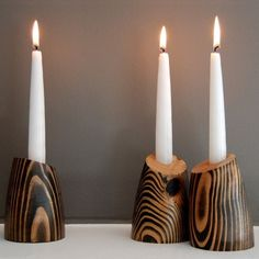 very cool decorative wood candle holders from jeanpelle on Etsy $50  pashhhh my dad can make these...