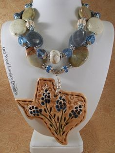 Cowgirl Necklace Set  Chunky Jasper and Coral with Ceramic Texas Bluebonnet pendant by Outwestjewelry