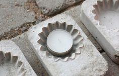 handmade concrete candle holder cupcake molds tea candles