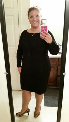 12.8.14, my first purchase from White House Black Market. Black sweater dress leopard heels