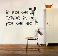 Mickey mouse wall decal quotes decal by newpoint on Etsy Mickey Mouse Quotes, Mickey Mouse Wall Decals, Mickey Mouse Nursery, Mickey Mouse Kitchen, Kids Wall Decals, Disney Wall Decals, Wall Sticker, Casa Disney, Disney Rooms