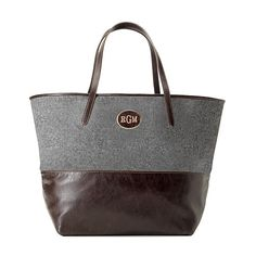 Monogrammed Gray Wool and Brown Leather Tote