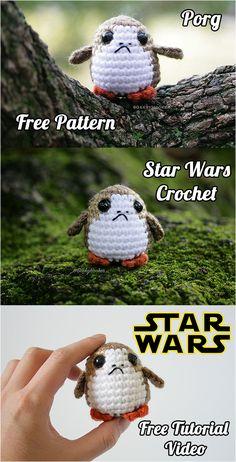 Star Wars Crochet Porg Free tutorial and tutorial video - Easy Yarn Crafts Crochet Diy, Crochet Gratis, Crochet Amigurumi, Amigurumi Patterns, Crochet For Kids, Crochet Dolls, Knitting Patterns, Crochet Patterns, Kids Patterns