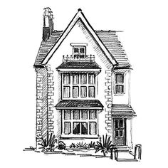 House Sketch Gallery - Graphic Sketch House Portraits by Artist Christopher J… Ink Pen Drawings, Doodle Drawings, Art Drawings Sketches, Building Illustration, House Illustration, House Sketch, House Drawing, Architecture Drawing Art, Building Drawing
