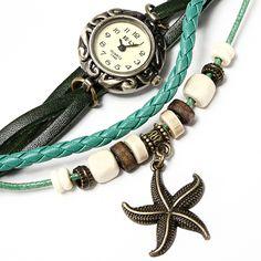 Vintage Starfish Beads Weave Leather Quartz Bracelet Wrist Watch Free Shipping! - US$4.55