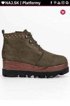 Zelené topánky s hrubou platformovou podrážkou Kylie Hiking Boots, Shoes, Fashion, Moda, Zapatos, Shoes Outlet, Fashion Styles, Shoe, Footwear